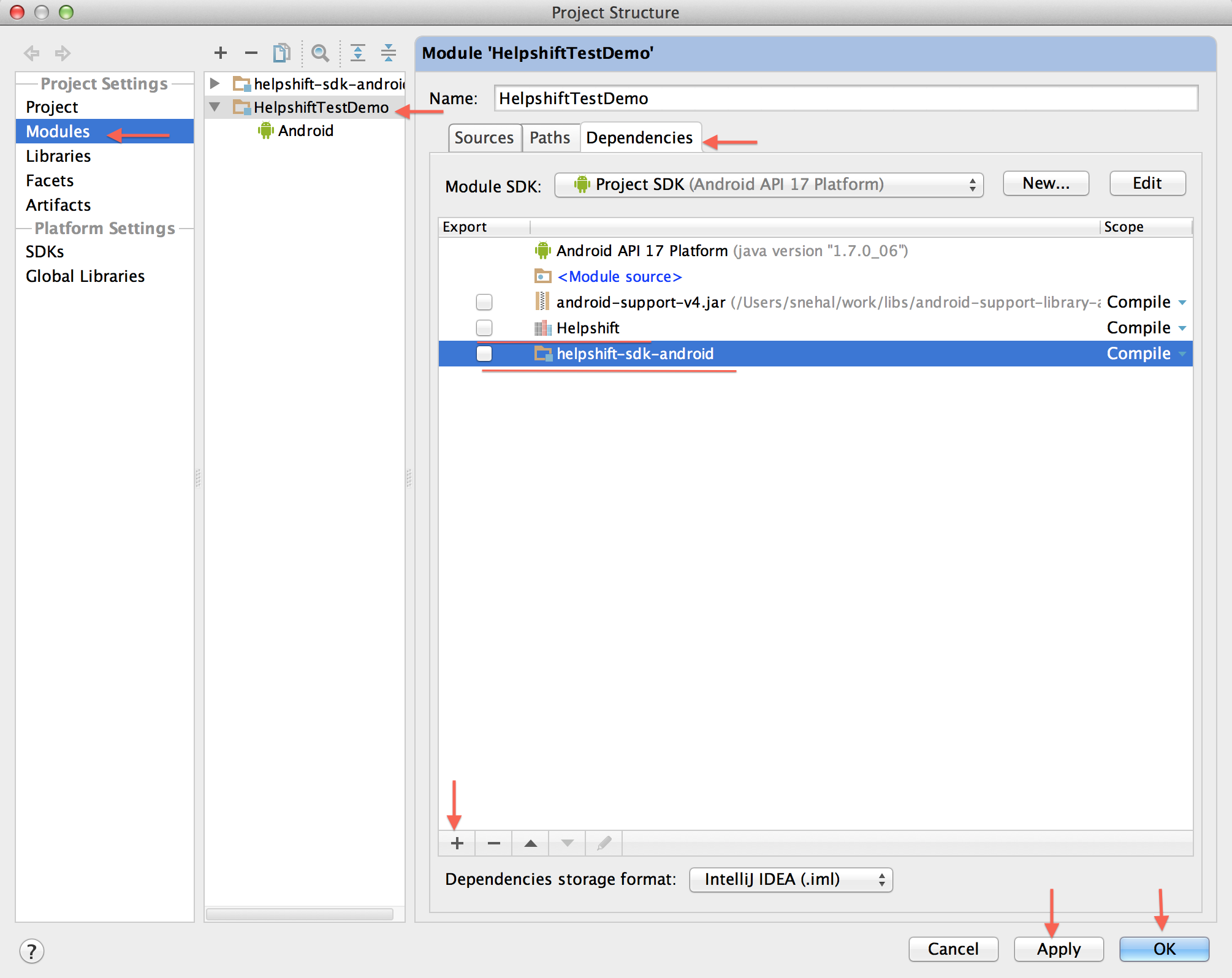 Integrating Helpshift SDK for Android in your IntelliJ project -
